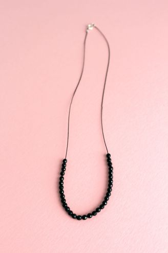 Collier, perle Onyx, argent 925, polyamide.